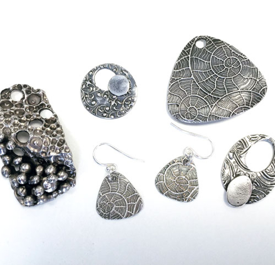 Finished pieces from previous Silver Clay Beginners course.