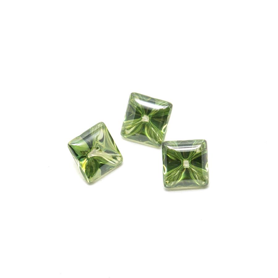 Liquid cut green square stones.