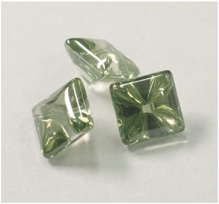 Synthetic Gemstone - Spring Green - Square 4x4 - 3pcs