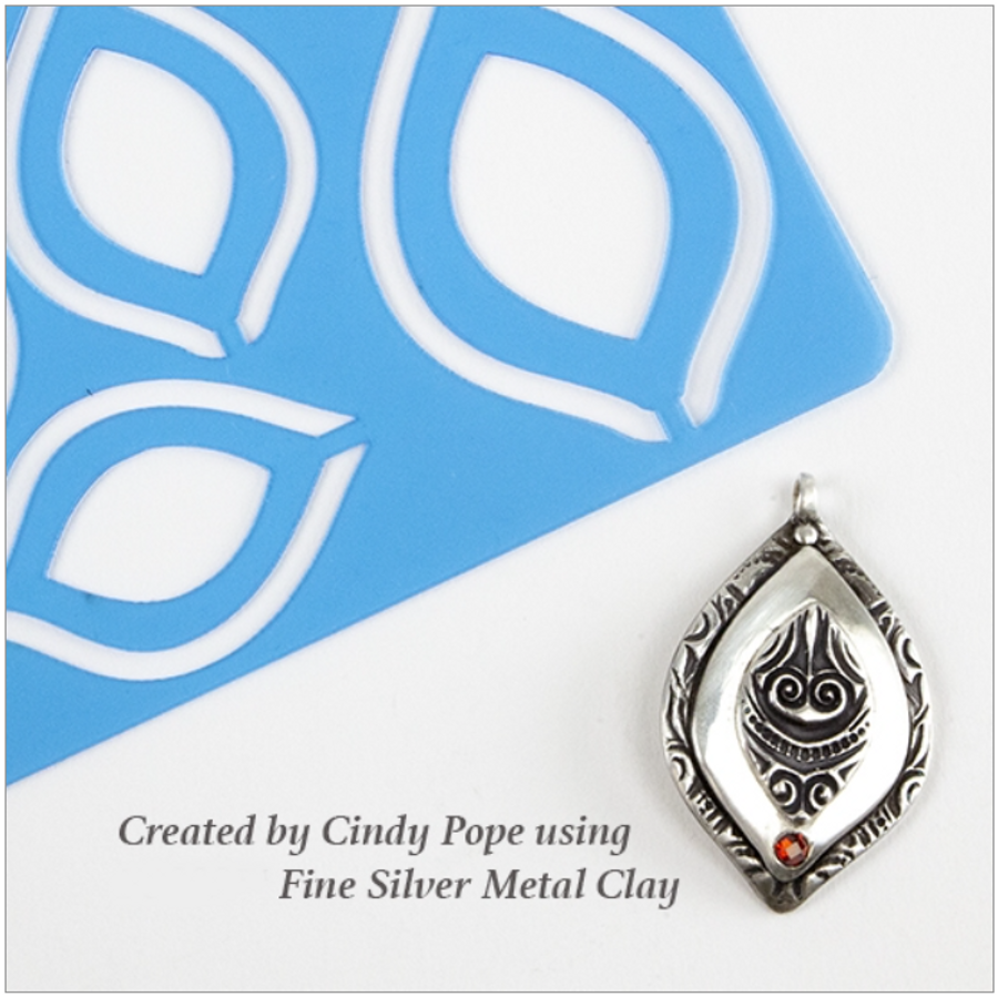 Examples of Cindy Pope Organic Tear Templates used with Fine Silver Clay