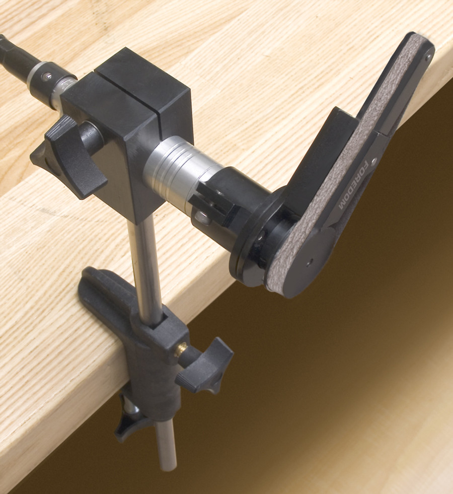 What it can look like using the handpiece holder with the optional belt sander.