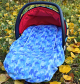 Peek-a-Boo Infant Car Seat Cover - Blue Camo
