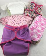 12-18 month Infant Cloth Diaper Bundle Pink & Purple