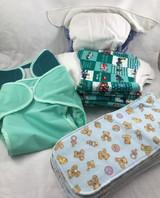 12-18 month Infant Cloth Diaper Bundle Teal Green