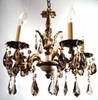 Antique Spanish chandelier with golden teak STRASS Swarovski crystal