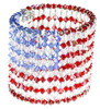 American Flag Cuff Bracelet Made with 600 Swarovski Crystals, Finished with Sterling Silver Magnetic Clasps.