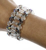 Exquisite cuff bracelet made with Swarovski crystal and sterling silver by the Karen Curtis Company NYC