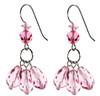 All Pink Triple Drop Earrings with Swarovski Crystal