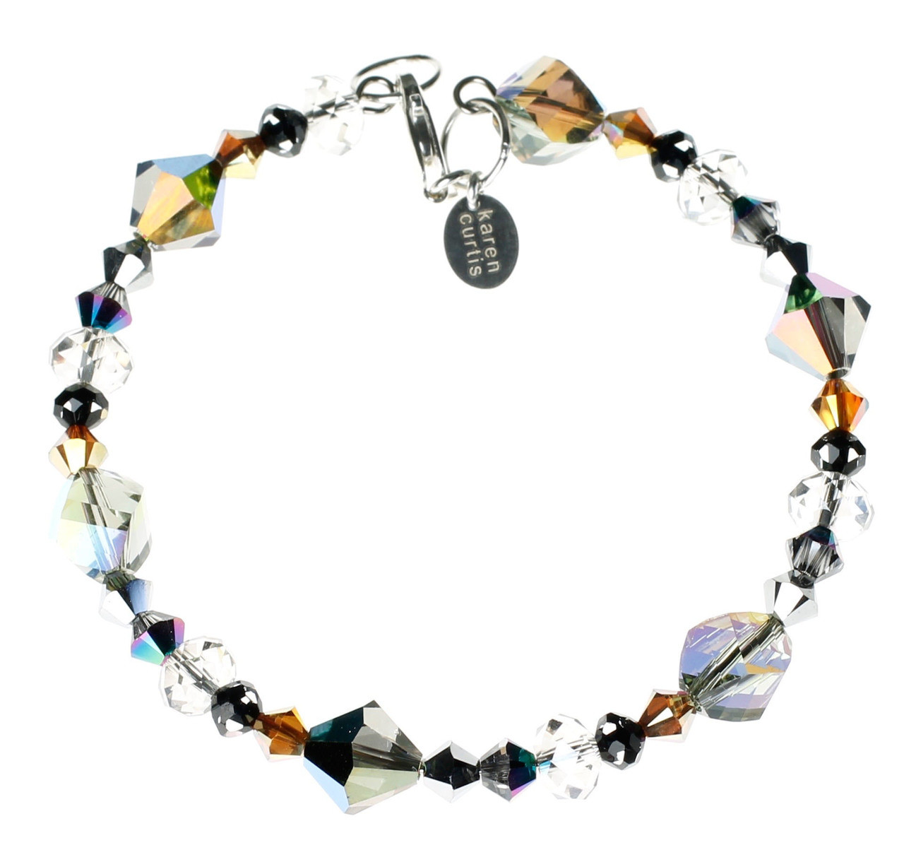 c8ede16567cf79 Grey, tan, clear and rainbow colored crystal bracelet made on sterling  silver and memory