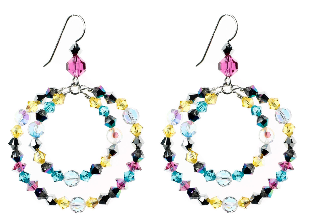 e43aaf9ab ... Gift wrapping: Options available. Bright, colorful and fun crystal hoop  earrings