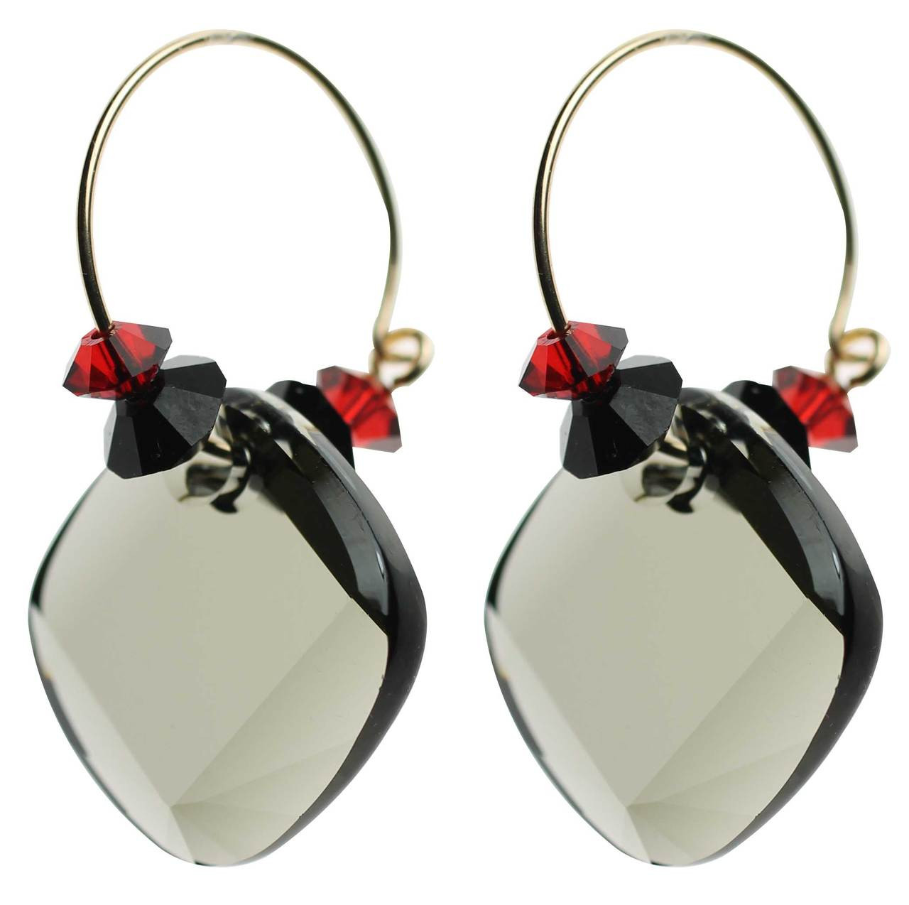 80cc767393d3f Black, Red & Grey Hoop Earrings • Modern and Vintage Crystals from  Swarovski • 14K Gold Filled Metal • Navajo Collection