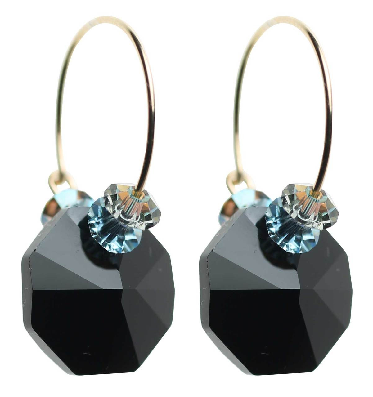 0ec9d8f2cb68a Jet Black, Aqua and Champagne Hoop Earrings • Modern and Vintage Crystals  from Swarovski • 14K Gold Filled Metal • Navajo Collection