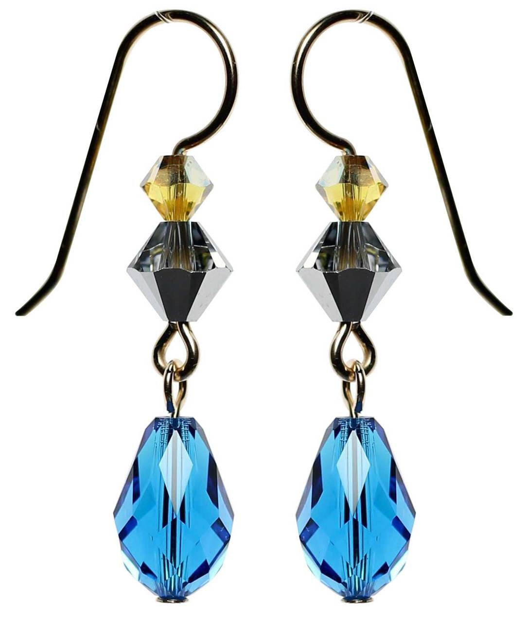 47867acd0de9b Capri Blue Swarovski Crystal Dangle Earrings • 14K Gold Filled Metal •  Navajo Collection