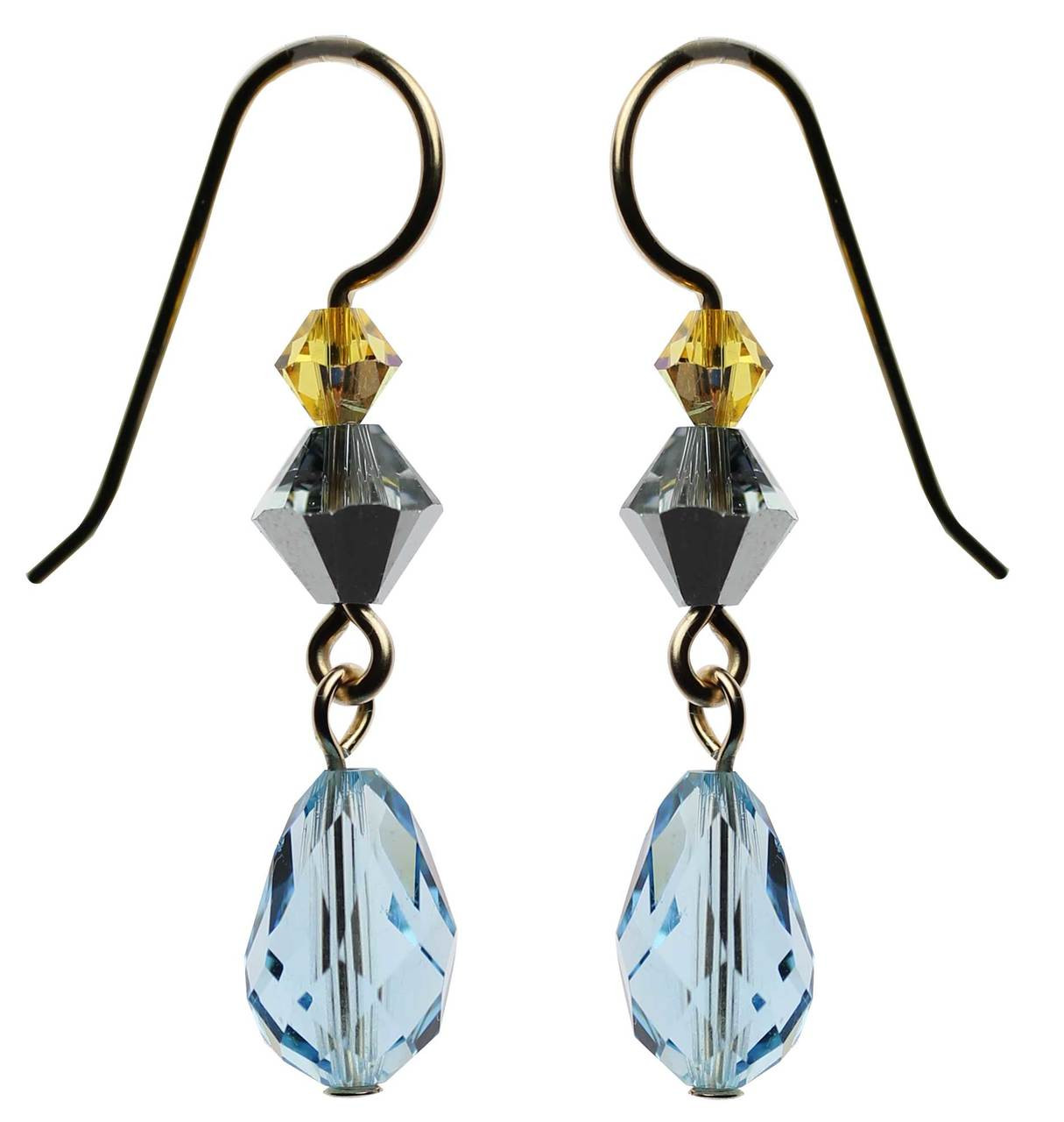 fd5ce0131 Aqua Blue Swarovski Crystal Dangling Earrings • Entirely Hand made ...