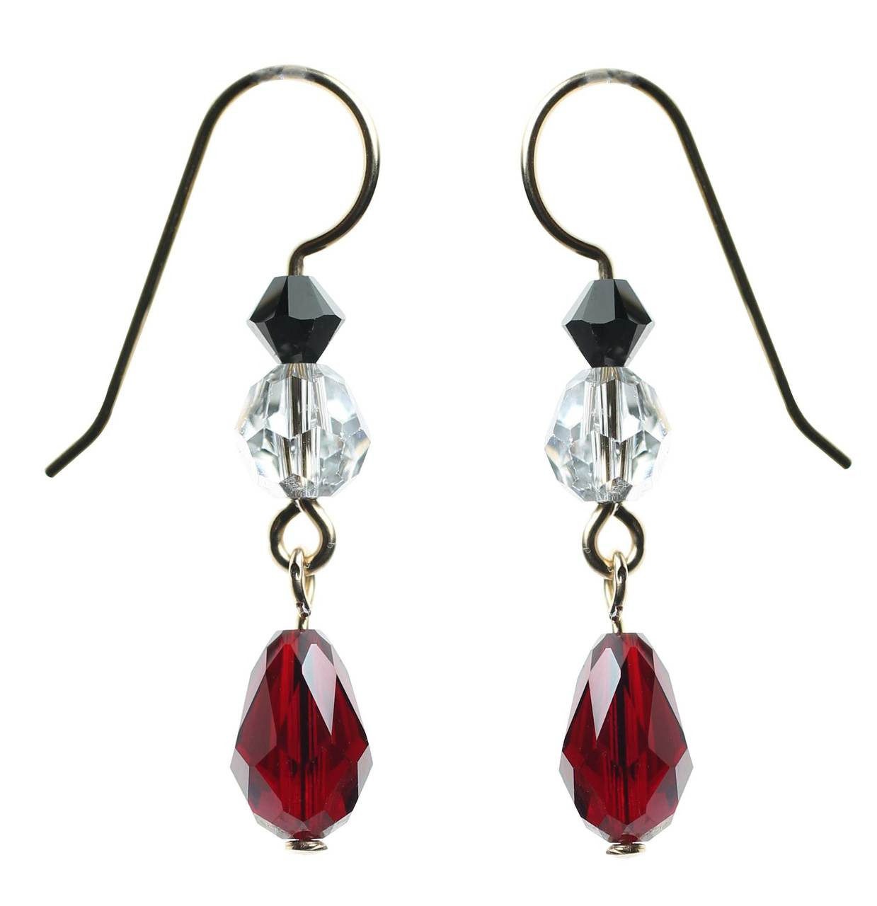 8e997569d Siam red Swarovski crystal dangle earrings made with rare silver coated  beads and 14K gold filled