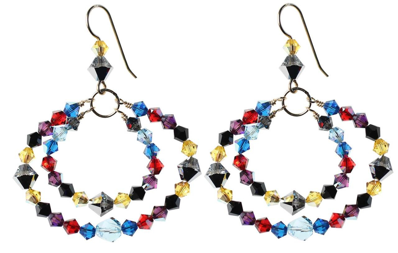 fb1bc176d3c35 Multi Colored Double Hoop Earrings • Crystals from Swarovski • 14K Gold  Filled Metal • Navajo Collection