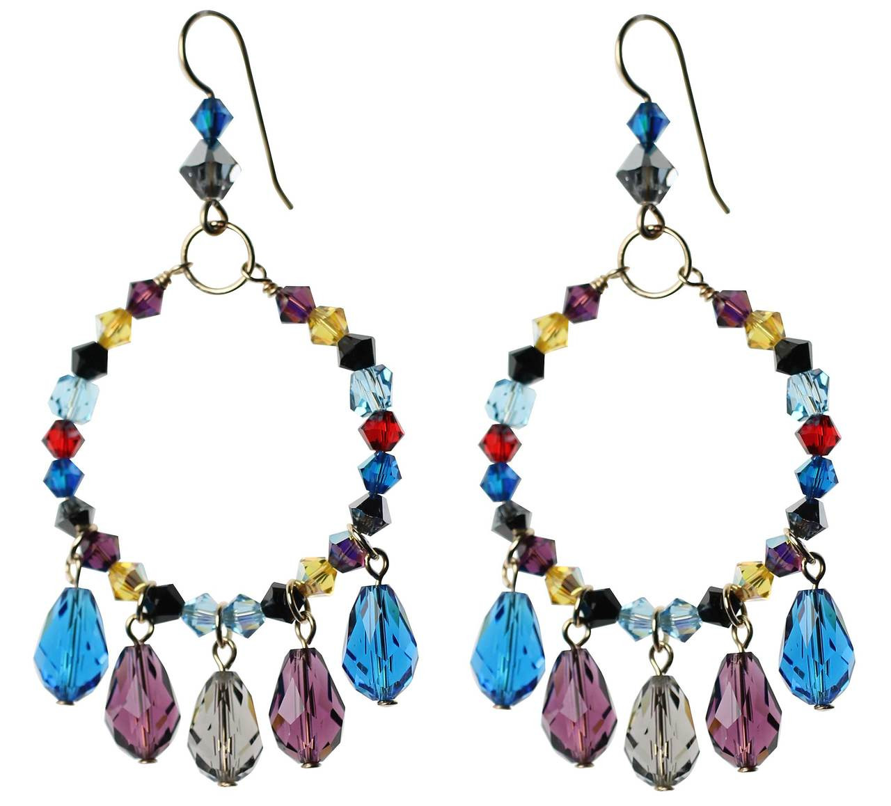 2e88aa8d64b28 Colorful Hoop Earrings with Droplets • Crystals from Swarovski • 14K Gold  Filled Metal • Navajo Collection