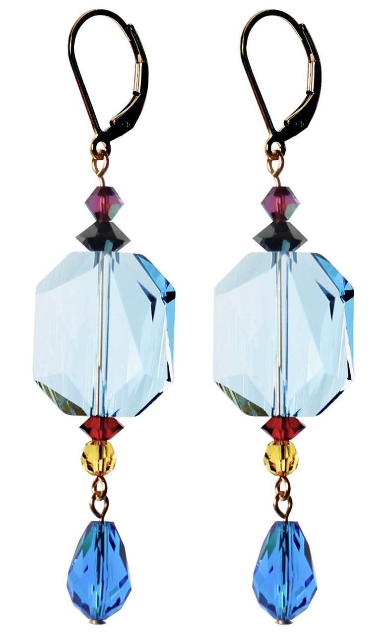 36a24a836 Shades of blue crystal earrings - Swarovski crystal - 14K gold filled metal