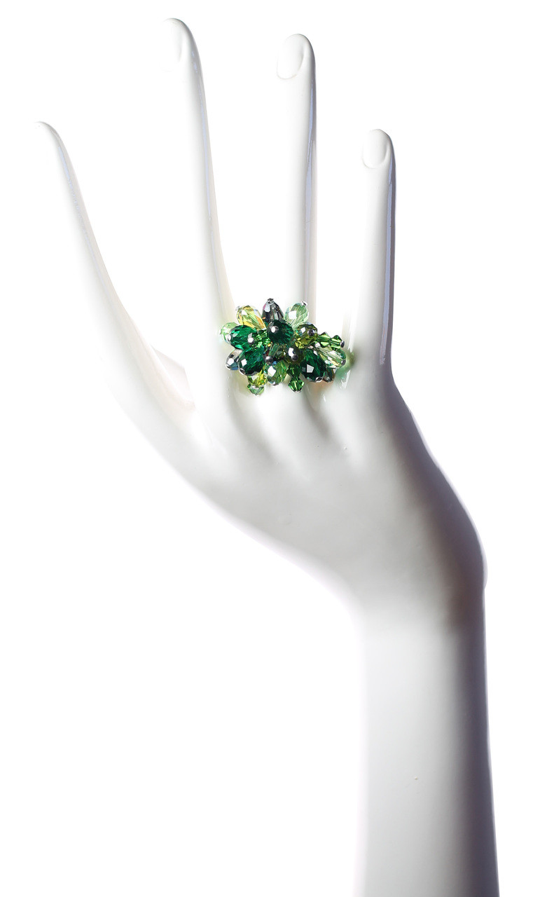 2f5bf1654e69f Green Crystal Cocktail Ring • Sterling Silver • Crystals from Swarovski