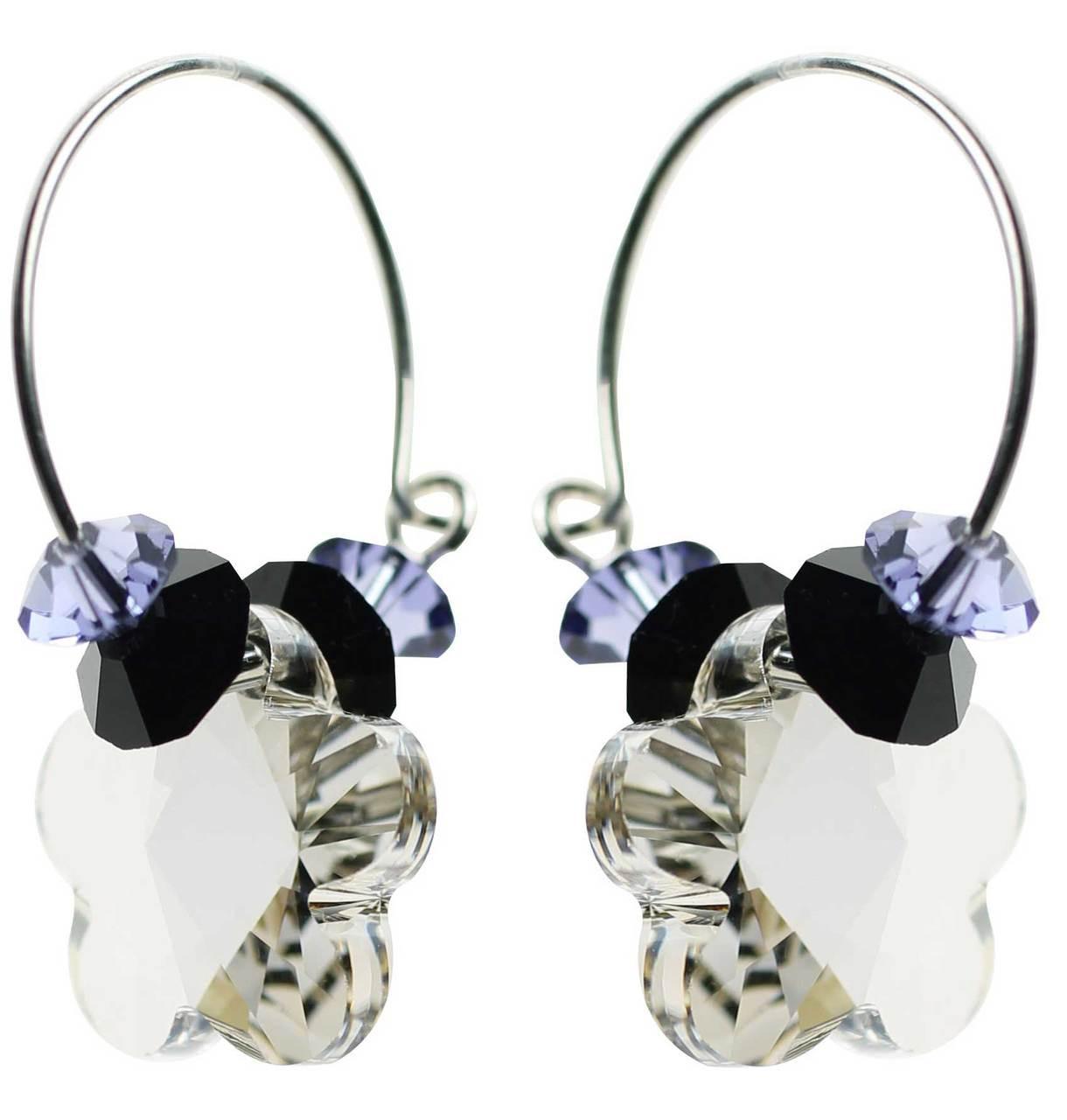 9bb38aa03 Swarovski crystal flower hoop earrings • Sterling silver earrings ...