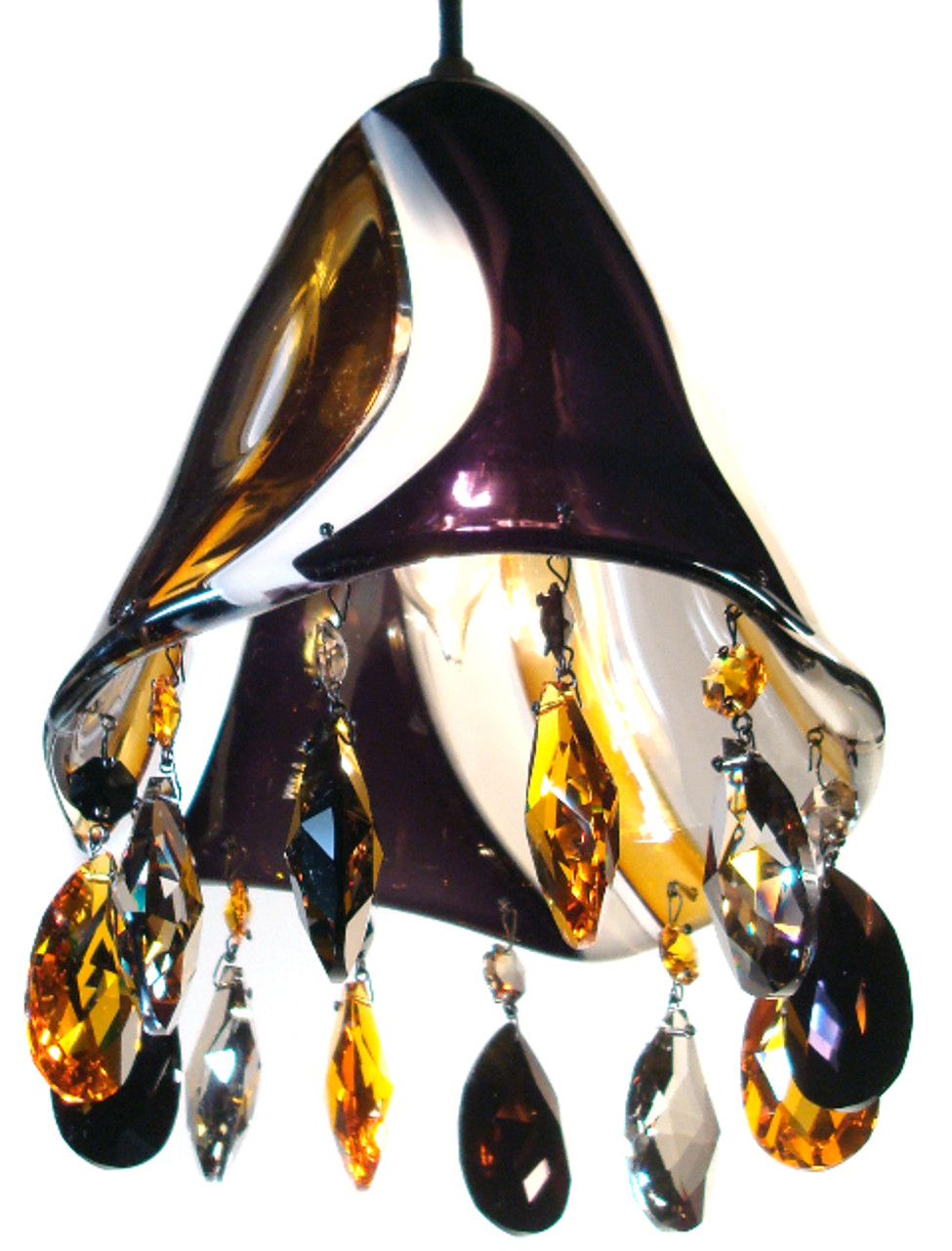 Hand Blown Glass Pendant Lights Art Glass And Strass Swarovski Crystal Nyc Lighting Designer Karen Curtis
