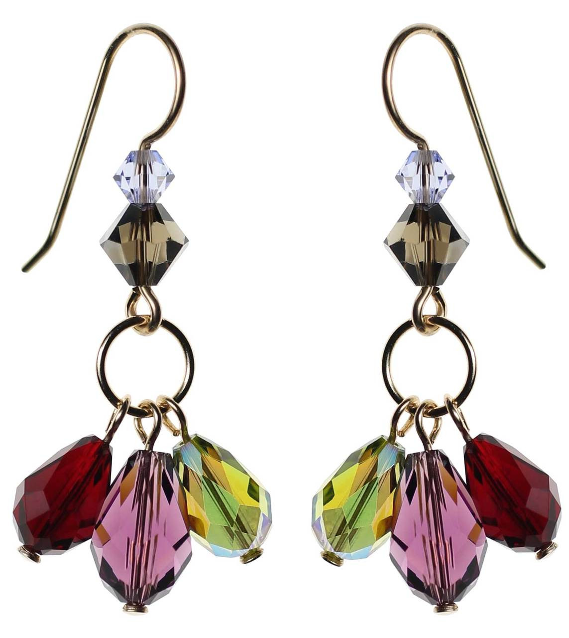 c235c58ee Dangling crystal earrings with purple, olive and red Swarovski on 14K gold  filled