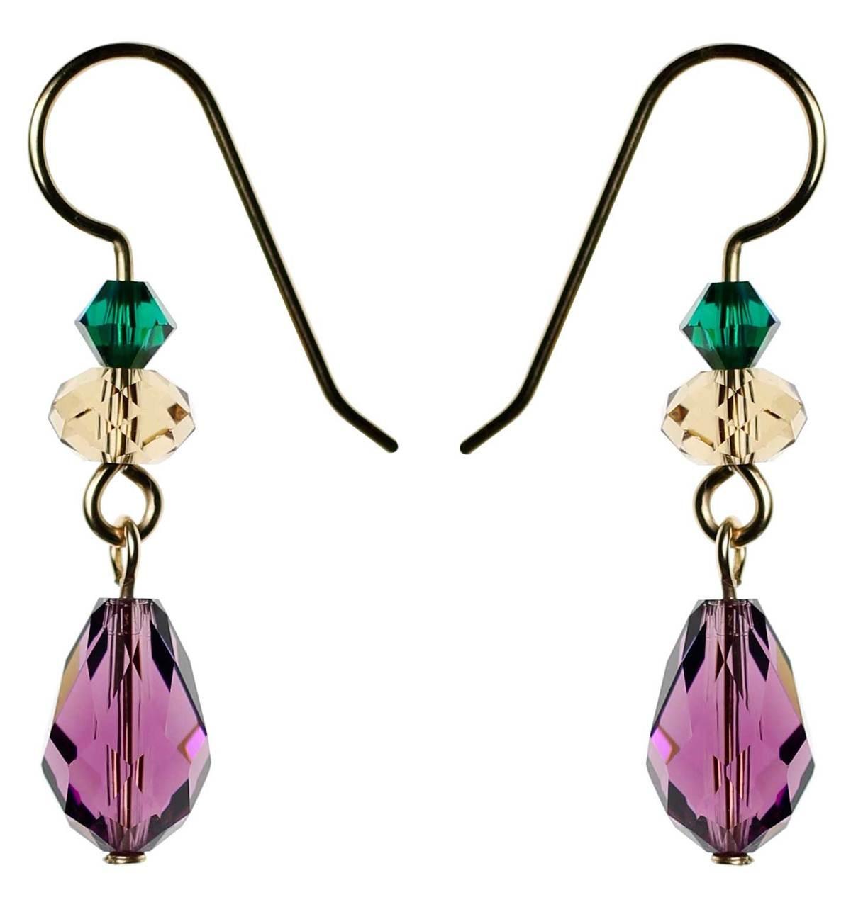 de087ed72 Purple Amethyst Swarovski crystal drop earrings • 14K gold filled ...