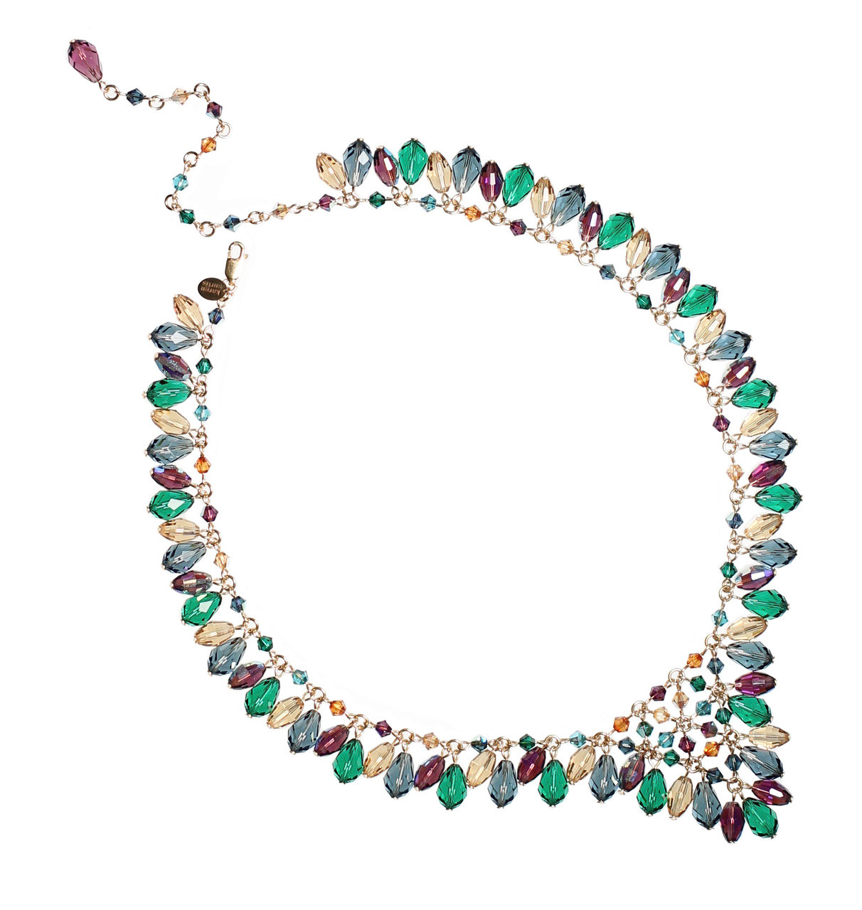 86239fb2b05828 V shaped necklace with blue and green crystal drops • 14K gold ...