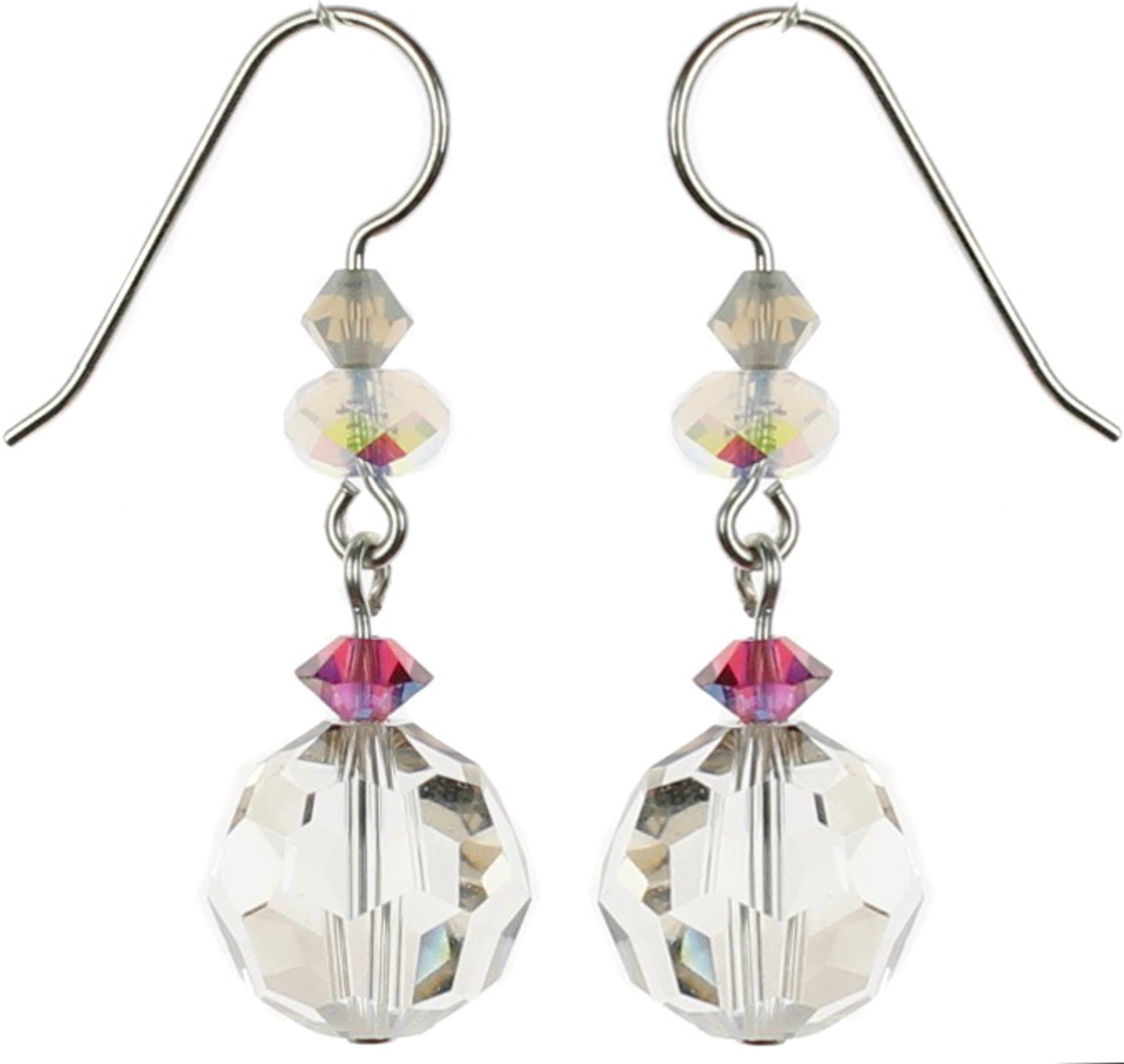 f3b0736dd Beautiful single drop earrings with large starlight Swarovski crystal made  on sterling silver. Starlight is