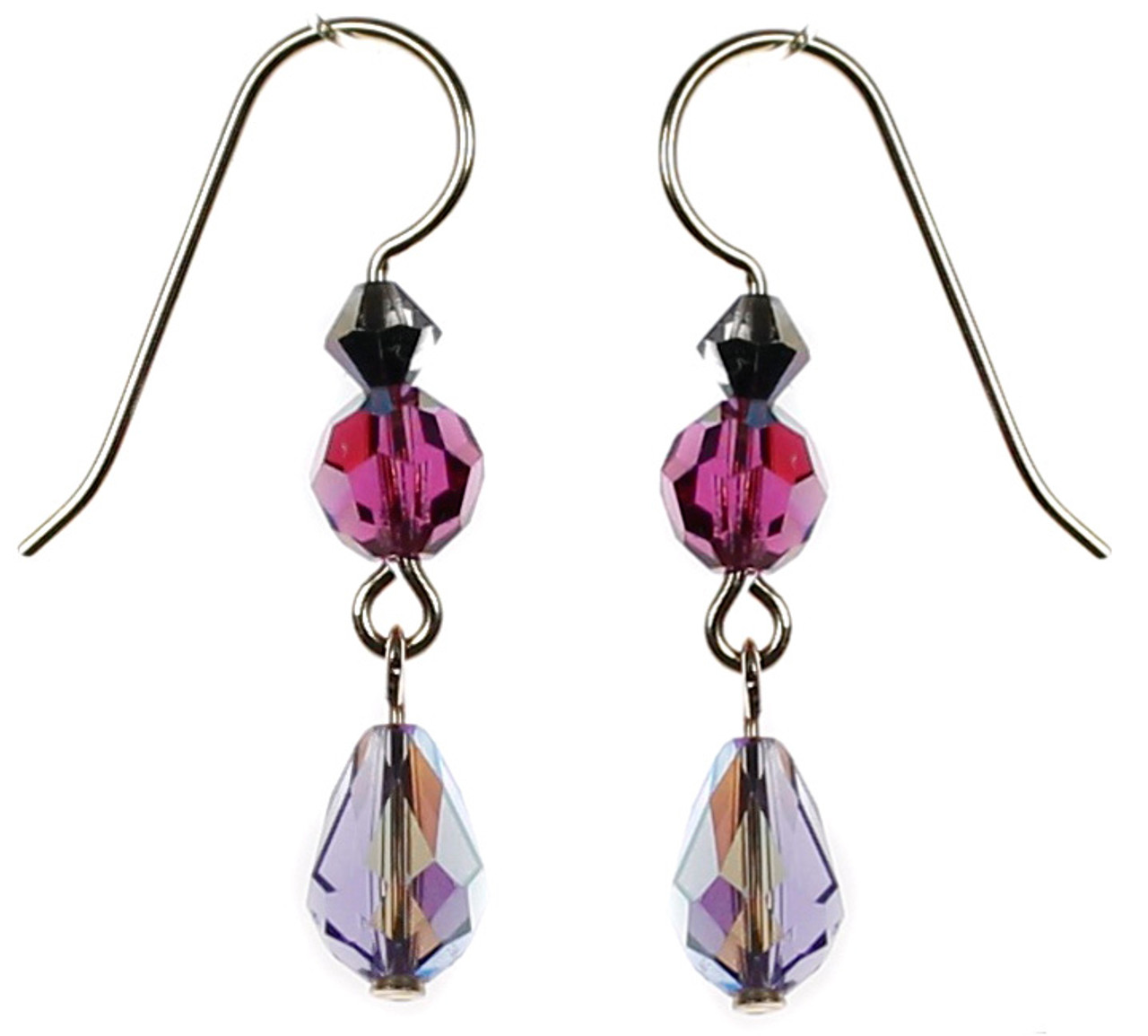 77641a829 Purple crystal earrings made with Swarovski crystal and 14K gold filled by  The Karen Curtis Company