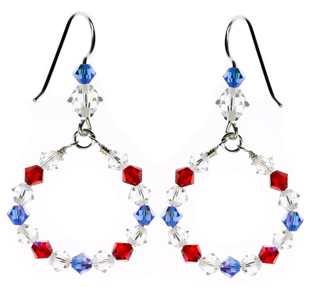 06920d473 RED WHITE AND BLUE EARRINGS • DESIGNER JEWELRY • KAREN CURTIS NYC