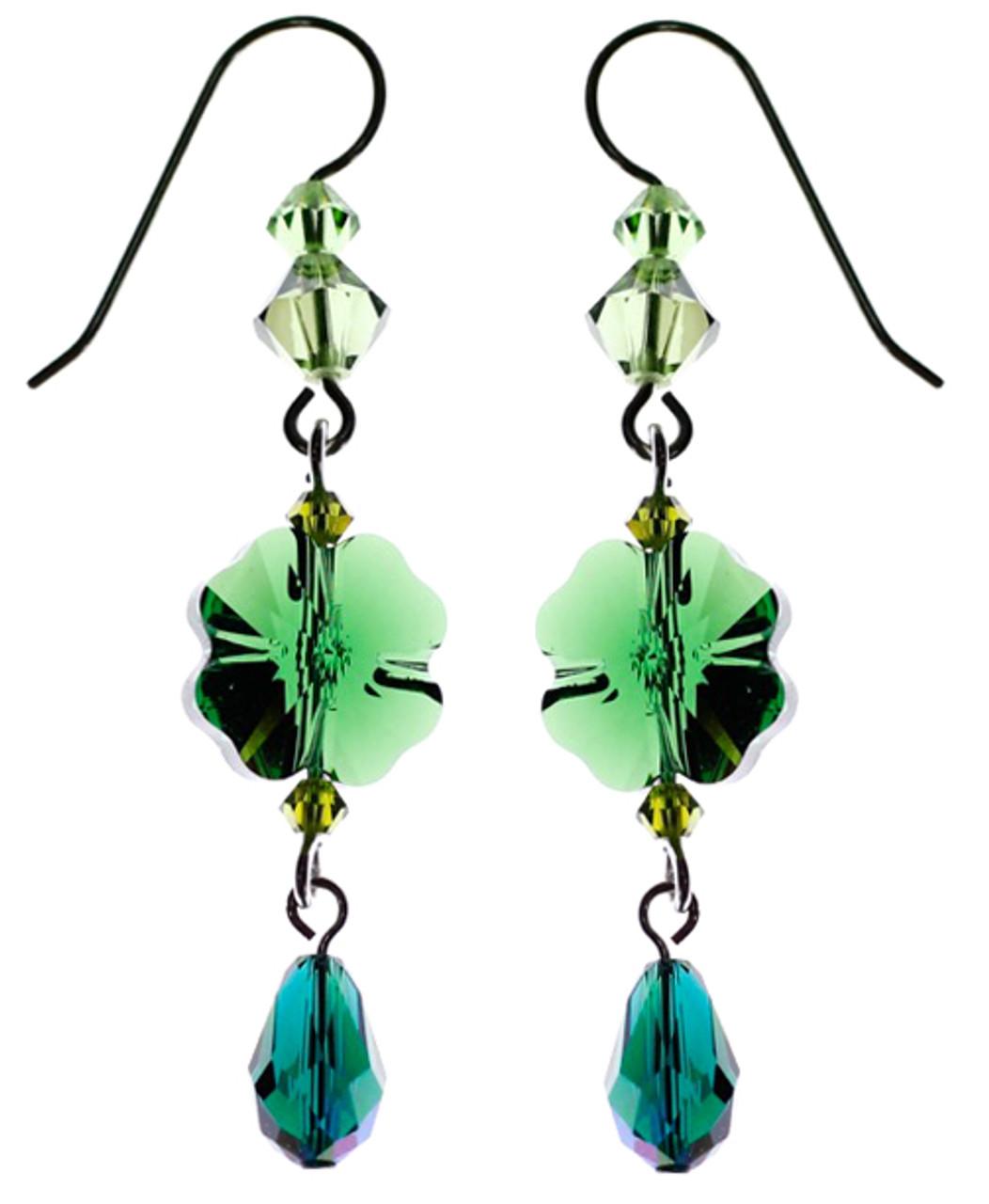 52de9e75bc29a Dangling Green Shamrock Crystal Earrings