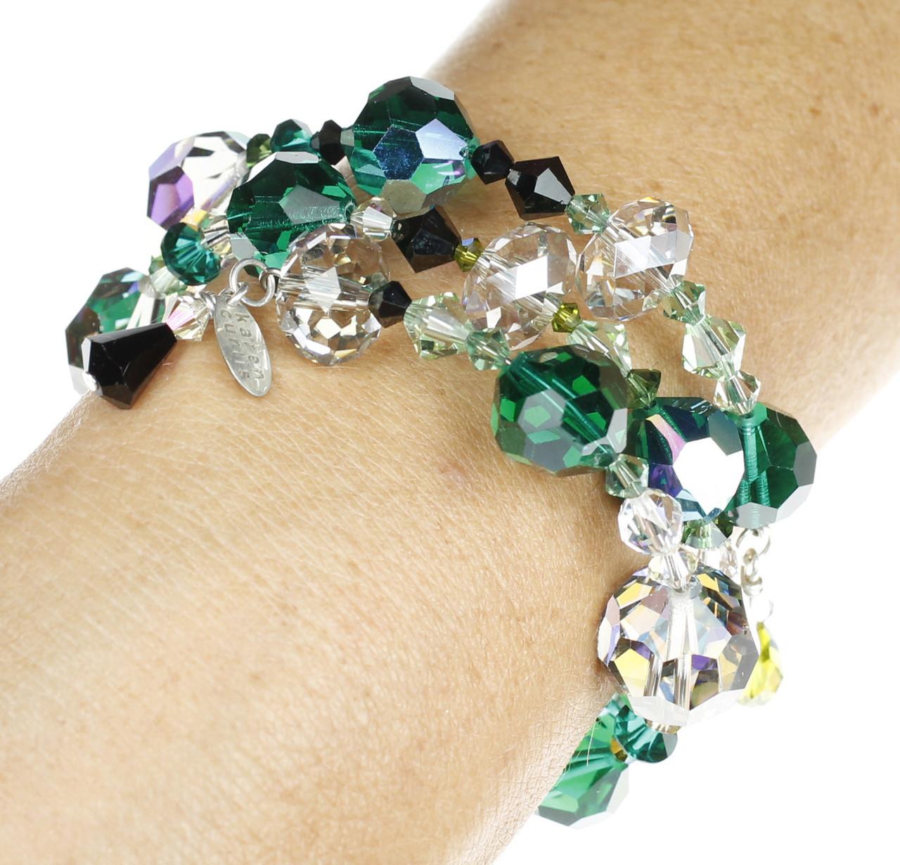 Vintage Swarovski and Modern Swarovski Crystal Green & Black Bangle Coil  Bracelet finished with Sterling Silver