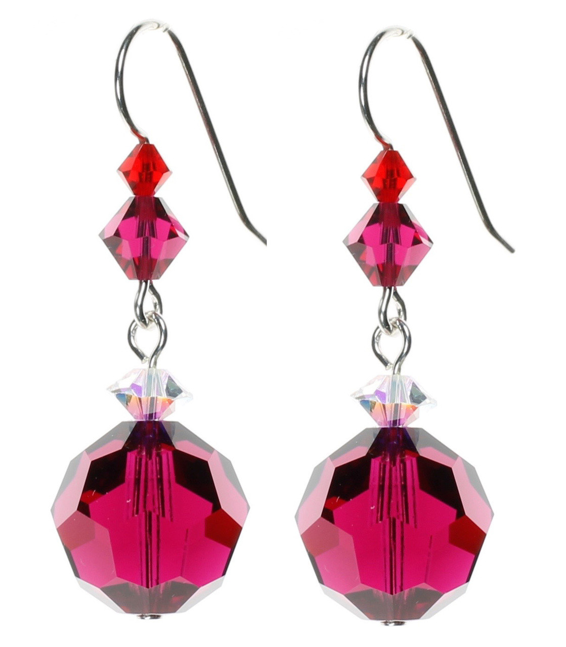 4dc8365a3 Ruby Red Crystal Earrings with Sterling Silver and Swarovski Crystal. July  Birthstone Earrings.