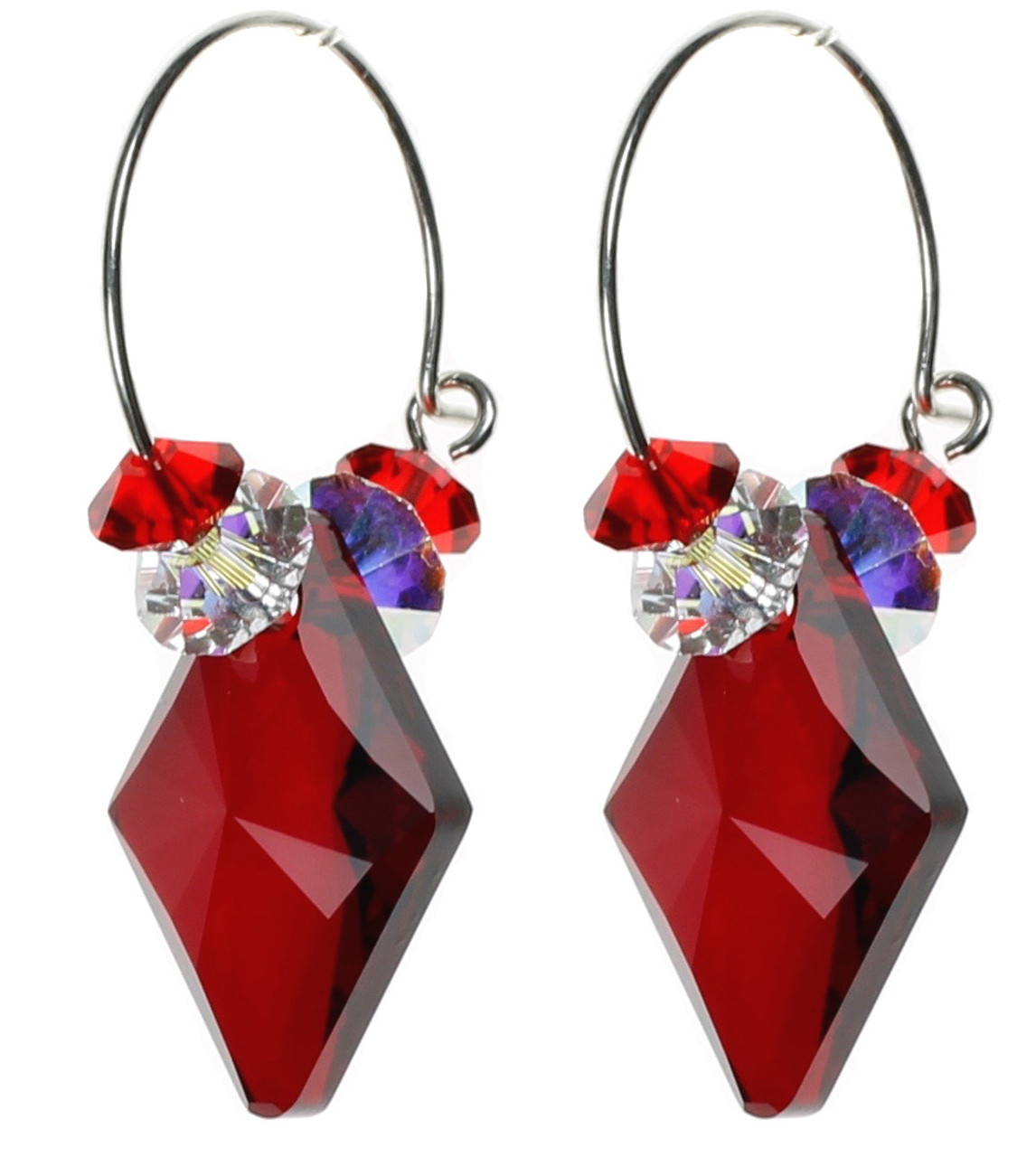 2e4834d49 Ruby Red Swarovski Crystal Hoop Earrings on Sterling Silver Ear Wire by The  Karen Curtis Company