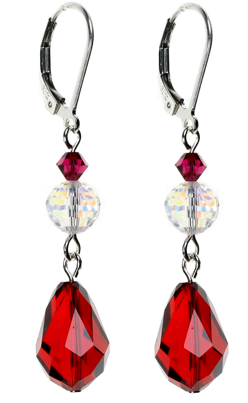 4dfee23f1d440 Red Teardrop Drop Earrings made with Swarovski & Vintage Swarovski Crystals  on Sterling Silver