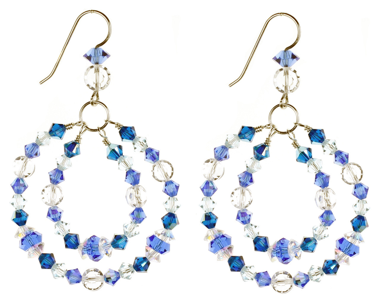 ff8104902 Blue hoop earrings with crystals from Swarovski. Birthstone jewelry by Karen  Curtis NYC