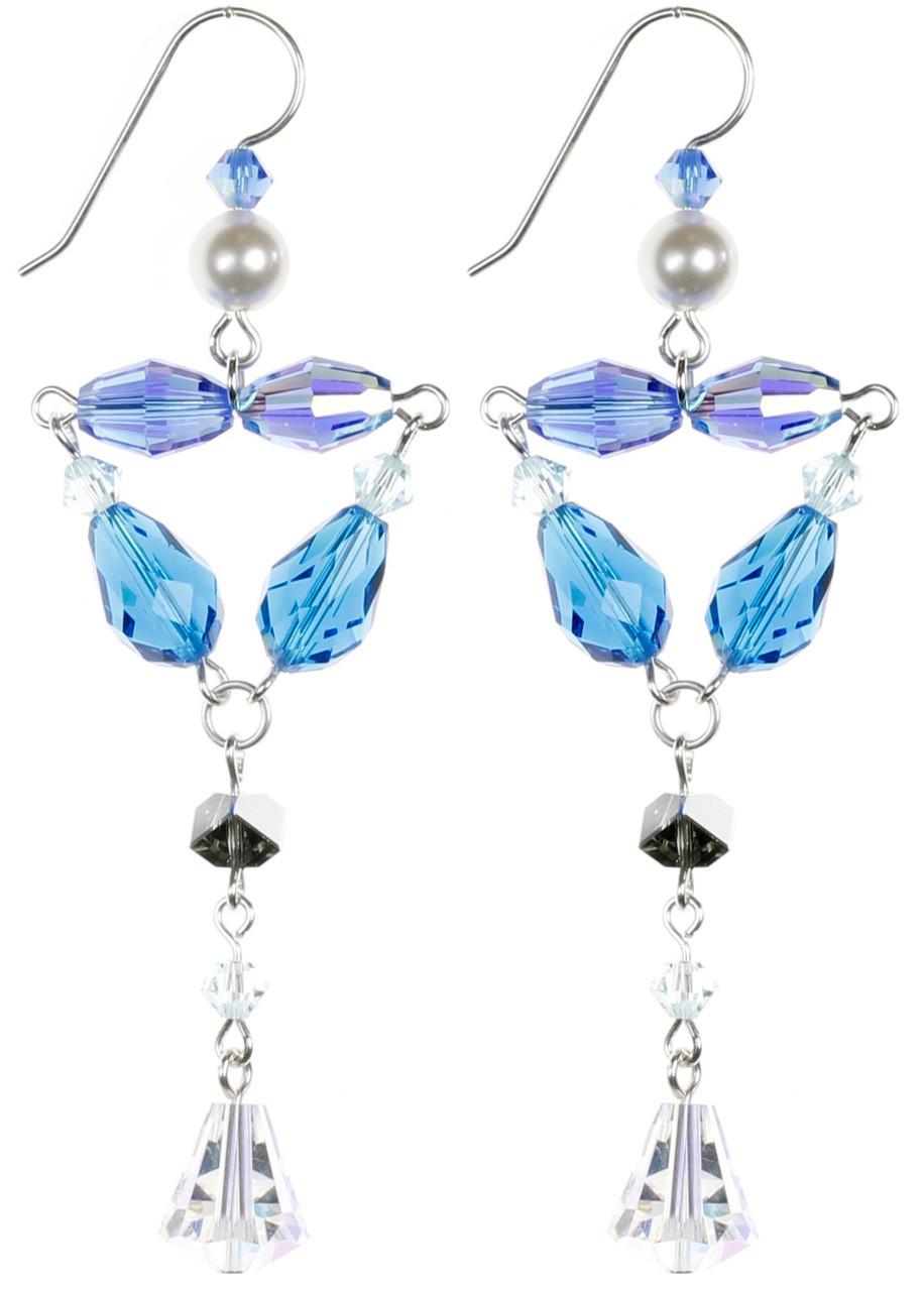 Blue Crystal Divine Earrings - September Birthstone