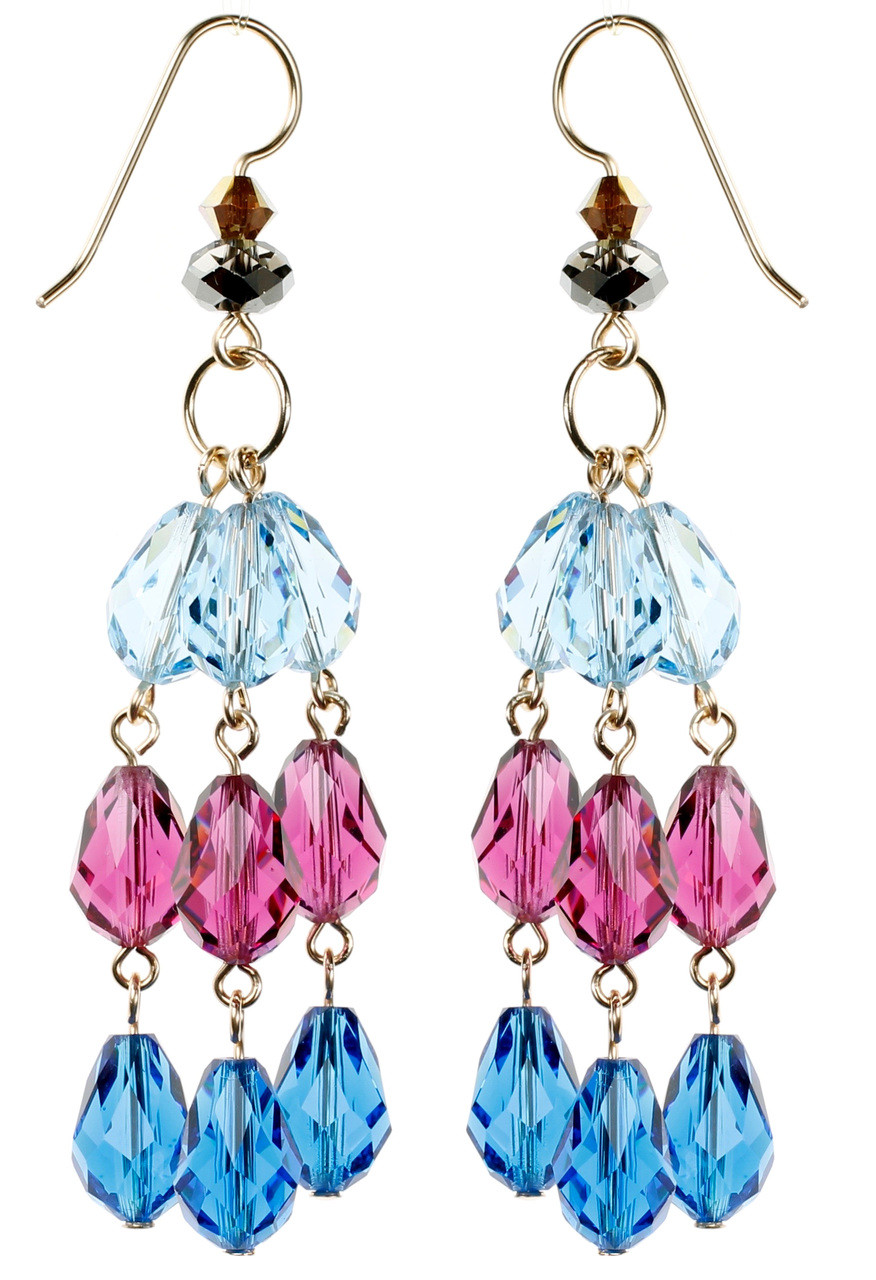 fb39a1e6f LONG BLUE AND PINK CRYSTAL EARRINGS • FORMAL CRYSTAL JEWELRY • KAREN CURTIS  NYC
