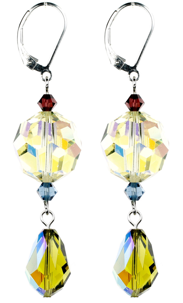 275d5a21d3ea3 Vintage Crystal Jonquil Earrings - Botanical Jewelry