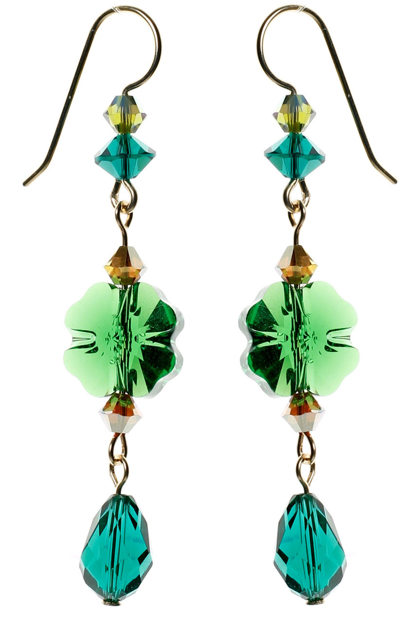 4a82f1032 Emerald green Swarovski Crystal shamrock earrings for st Patrick's day.  Four leaf clover earrings made