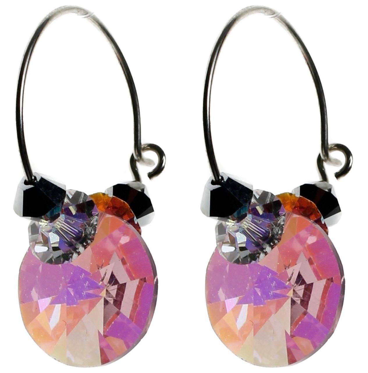 Vintage Pink Swarovski Crystal Earrings • Sterling Silver Hoop Earrings  with Crystal