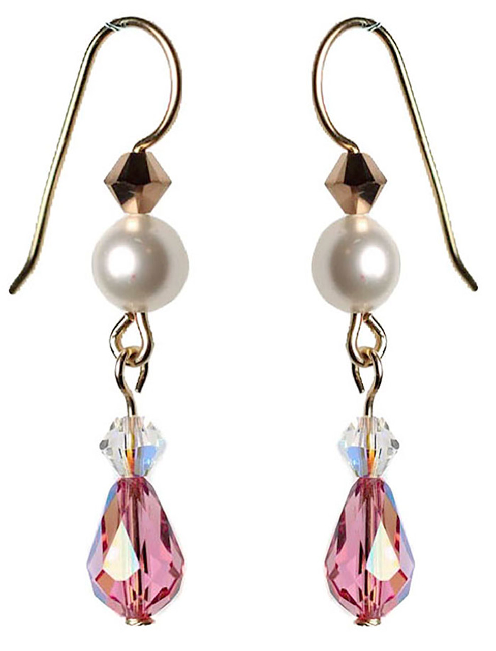 fc1b23ea8a6033 Pink Teardrop Crystal Earrings • Swarovski and 14K gold filled • NYC ...