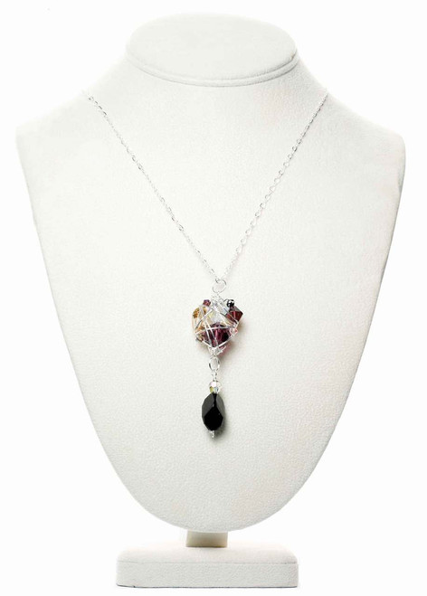 Purple and Black Crystal Pendant Necklace