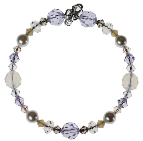 light colored crystal bracelet with lavender, opal white, grey pearls, and clear crystal.