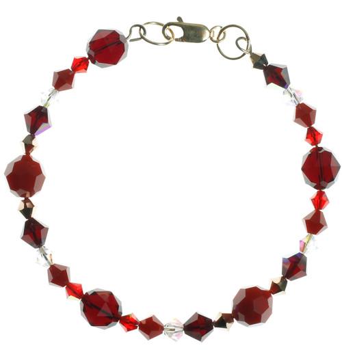 Red crystal bangle bracelet with vintage opal Swarovski.