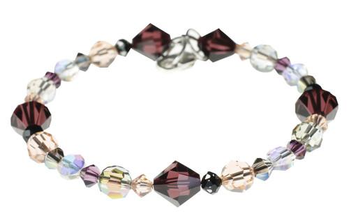 Purple and tan Swarovski crystal bracelet. Hand made by Karen Curtis.