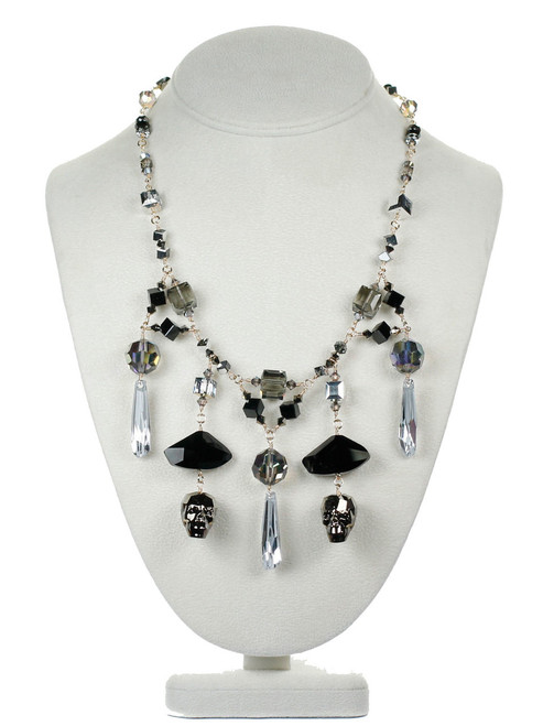 Swarovski crystal Skull Statement Necklace by Karen Curtis NYC