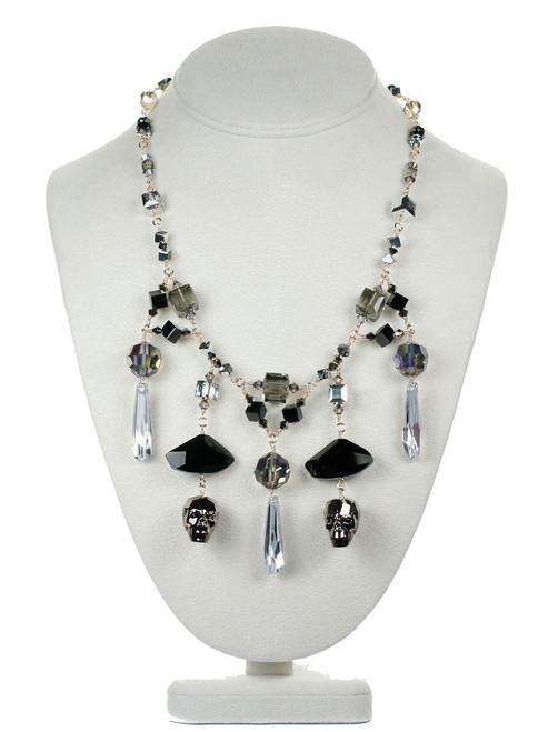 Swarovski crystal Skull Statement Necklace by Karen Curtis NYC