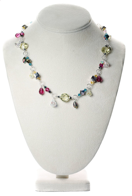 rare Swarovski crystal necklace with jewel tones and sterling silver